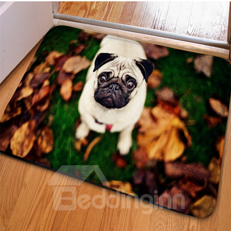 Rectangle Cute Dog with a Rose Print Home Decorative Non Slip Doormat