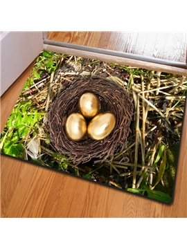 Natural Rectangle Nest Print Country Style Non Slip Entrance Doormat