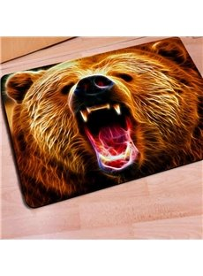 Rectangle Fearsome Bear Print Outdoor Indoor Non Slip Entrance Doormat
