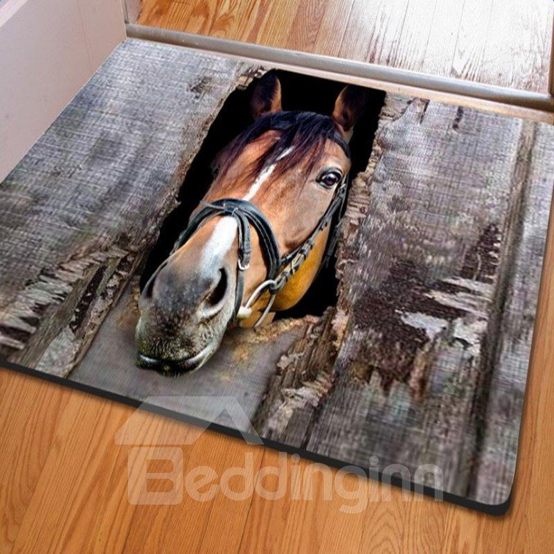 Amusing Rectangle Expressiveness Horse Print Non Slip Entrance Doormat