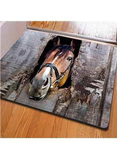 Amusing Rectangle Expressiveness Horse Print Non Slip Entrance Doormat