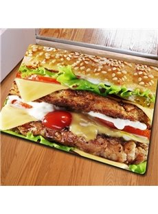 Fancy Rectangle Delicious Food Print Outdoor Indoor Non Slip Entrance Doormat