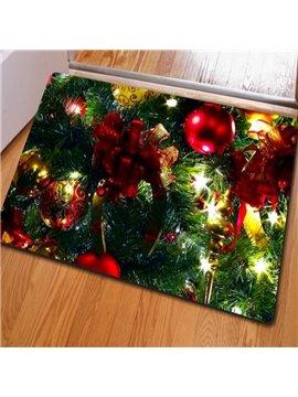 Practical Rectangle Christmas Ribbon and Tree Print Decorative Non Slip Doormat