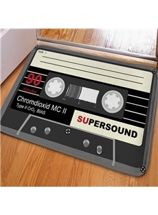 Classic Rectangle Creative Music Tape Print Non Slip Doormat
