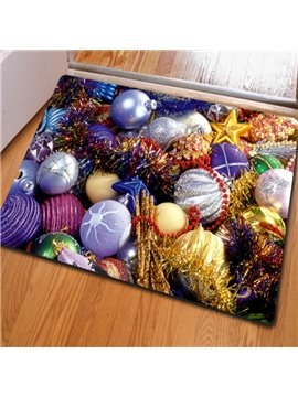 Modern Simple Style Rectangle Colorful Balls Pattern Christmas Decoration Non Slip Doormat