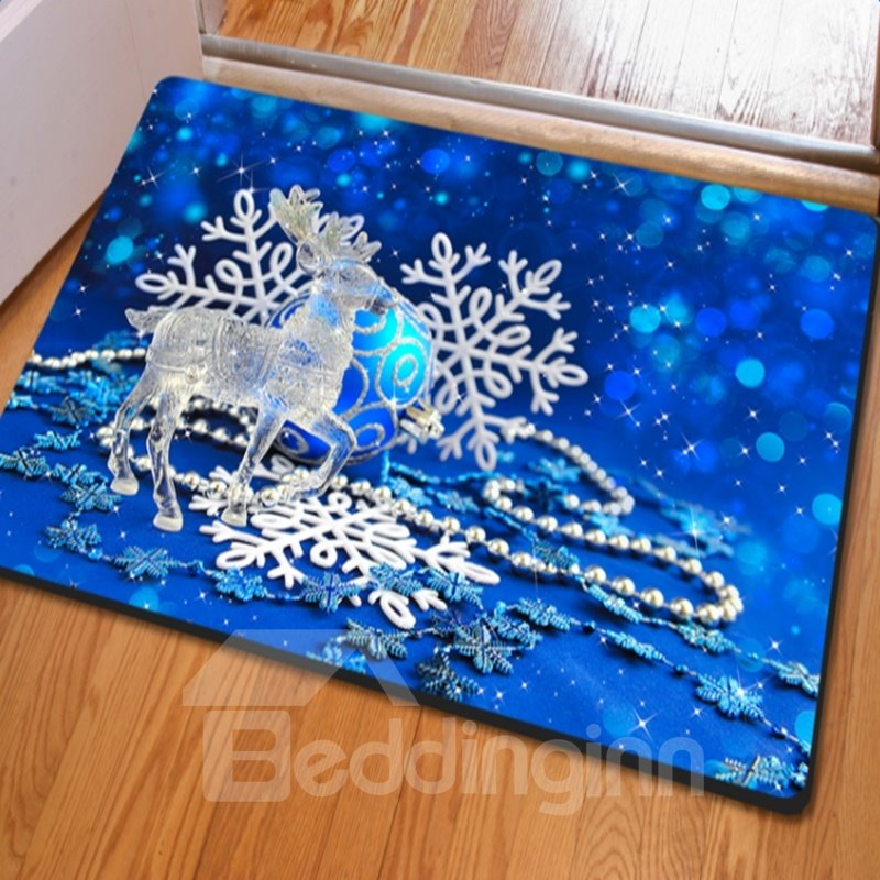 Gorgeous Blue Rectangle Jingle Bell and Snowflake Print Non Slip Doormat