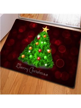 Red Rectangle with Green Christmas Tree Print Non Slip Doormat