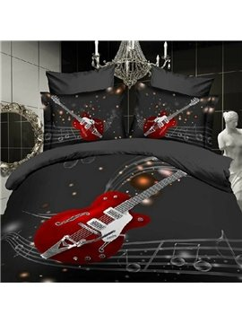 Fancy Guitar with Stave Print 2-Piece Pillow Cases