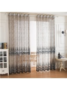 Coffee Color Peacock Feather Embroidery Custom Sheer Curtains