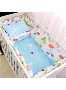 Cute Colorful Clouds Pattern 9-Piece Cotton Baby Crib Bedding Set