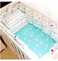 Bright Cartoon Elks Pattern 9-Piece Cotton Baby Crib Bedding Set