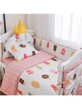 Princess Theme Ice Cream Pattern 9-Piece Cotton Baby Crib Bedding Set