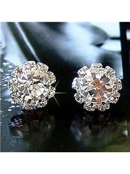 Shining Ctystal Concise Design Alloy Earrings