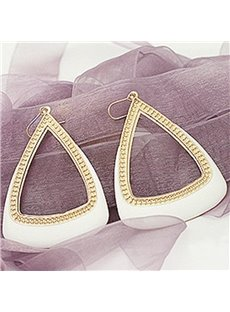 Exaggerated Hollow Triangle Design Alloy Pendant Earrings