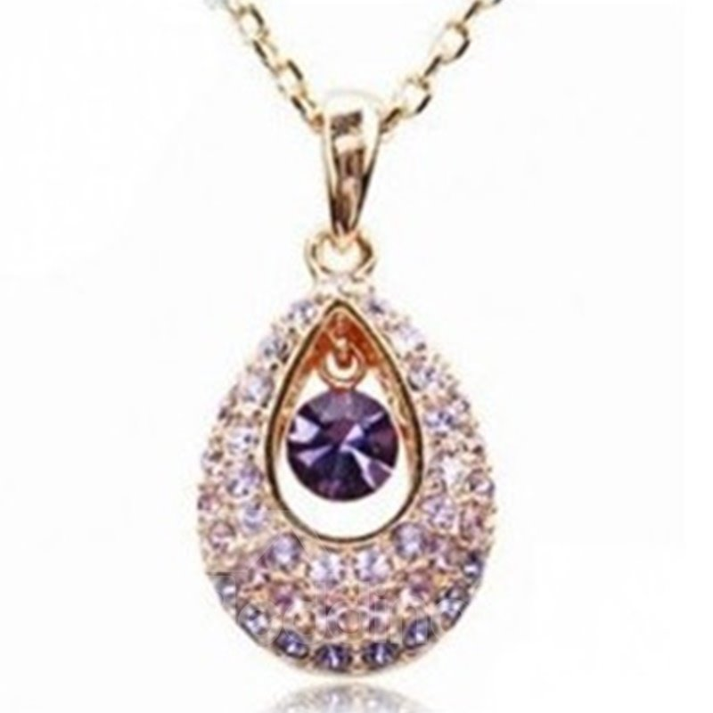 Shining Rhinestone Hollow Water Drop Design Pendant Necklace