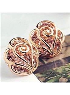Glamours Golden Flower Design Rhinestone Inlaid Earrings