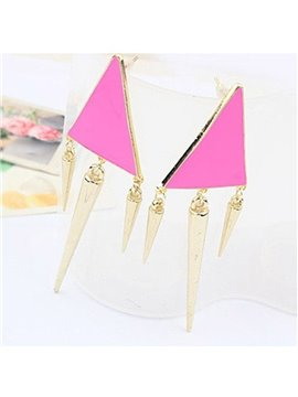 Cool Exaggerated Triangle Design Pendant Earrings