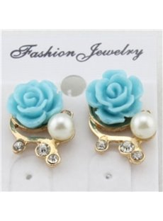 Lovely Flower Design Pearl Inlaid Earrings