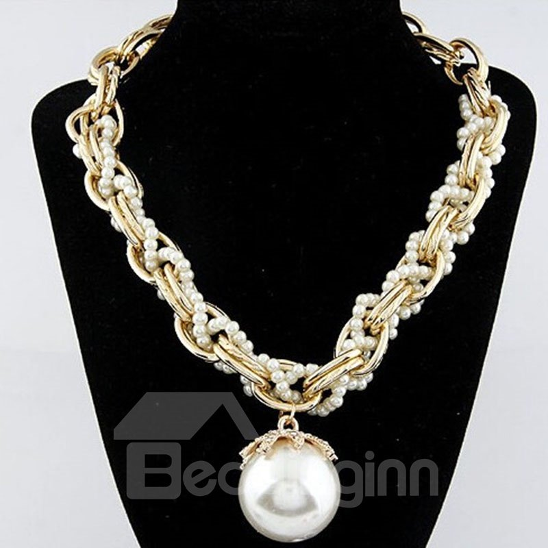 Pretty Pearl Knit Simple Design Alloy Statement Necklace