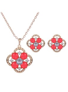 Beautiful Red Rhinestone Inlaid Design Alloy Jewelry Sets