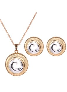 Charming Gold Circle Rotation Design Alloy Jewelry Sets