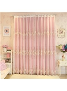 Rustic Floral Embroidery Sheer and Pink Cloth Sewing Together Curtain Sets