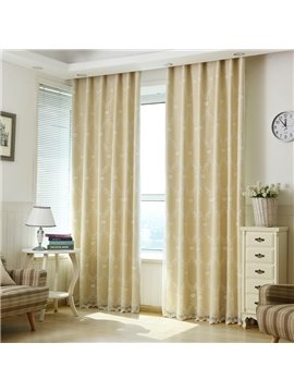 Sweet White Embroidery Sheer and Beige Cloth Sewing Together Curtain Sets