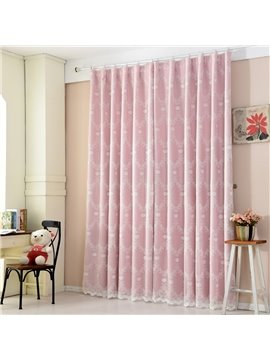 Sweet White Floral Embroidery Sheer and Pink Cloth Sewing Together Curtain Sets