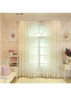 Rustic White Floral Embroidery Sheer Curtain