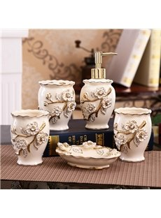 European Style Floral Design Ceramics 5-Pieces Bathroom Accessories