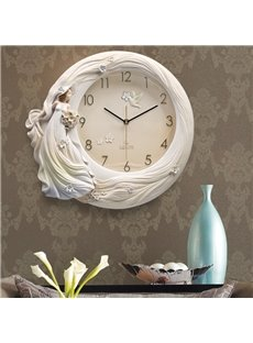 Handmade Three-dimensional Handmade Beautiful Girl Embossment Mute Battery Wall Clock