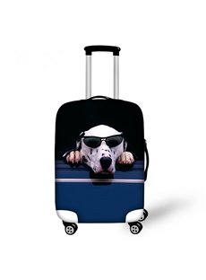 Funny Dog with Glasses Pattern 3D Painted Luggage Cover
