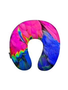 Bright Feather Print U-Shape Memory Foam Neck Pillow