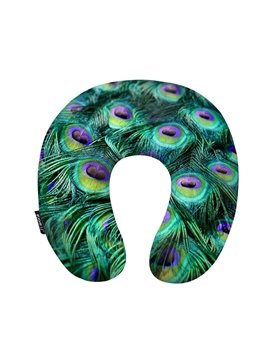 Fancy Peacock Feather Print U-Shape Memory Foam Neck Pillow