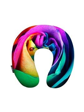 Excellent 3D Rose Print U-Shape Memory Foam Neck Pillow