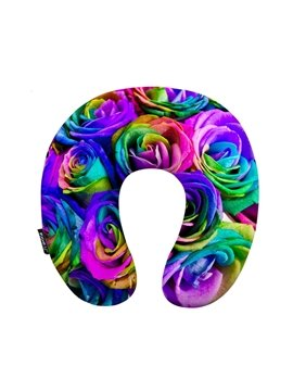 Amazing 3D Rose Print U-Shape Memory Foam Neck Pillow