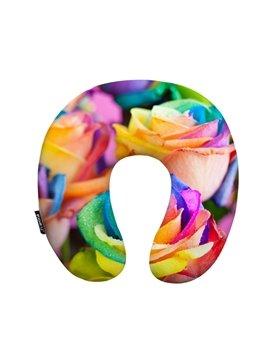 Luxury 3D Rose Print U-Shape Memory Foam Neck Pillow