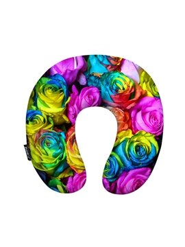 Colorful 3D Roses Print U-Shape Memory Foam Neck Pillow