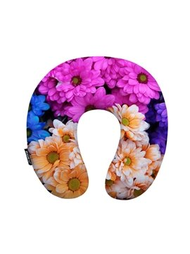 Beautiful 3D Daisy Print U-Shape Memory Foam Neck Pillow