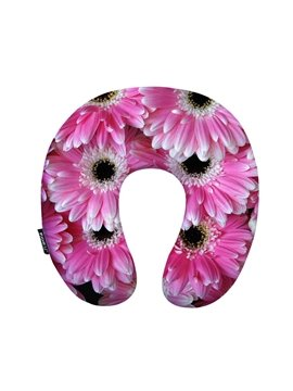 Pretty Pink 3D Daisy Print U-Shape Memory Foam Neck Pillow