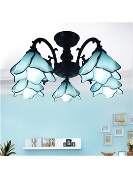 Tiffany Style 5 Bulbs Flush Mount Ceiling Light
