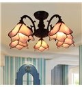 Tiffany Style 5 Bulbs Flush Mount Ceiling Light