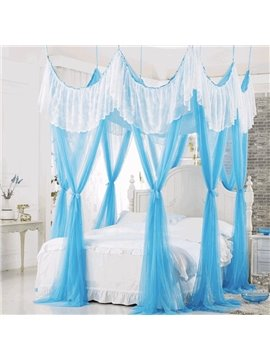 Romantic Lace Embellishment Blue Polyester Eight-point Bed Canopy