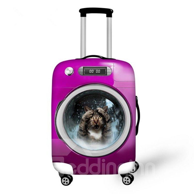 Unique Wash Machine with Cute Animals Pattern 3D Painted Luggage Cover Unique Wash Machine with Cute Animals Pattern 3D Painted Luggage Cover