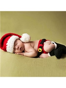 Cute Santa Claus Cloth Design Knit Baby Cloth Photo Prop
