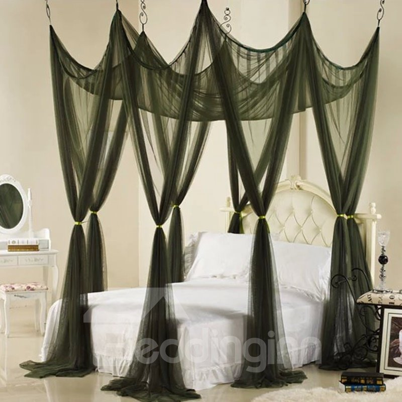 72 Elegant Dark Green Polyester Eight-point Bed Canopy : elegant bed canopy - memphite.com