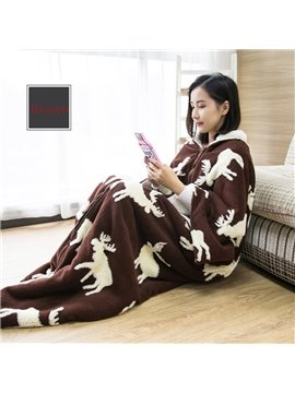 Snug Brown Christmas Reindeer Print Blanket With Sleeves