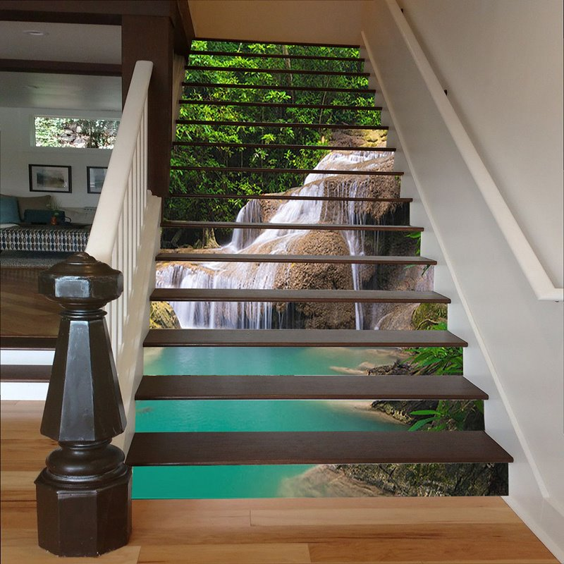 3D Waterfall Printed PVC Waterproof and Sturdy Self-Adhesive Stair Murals