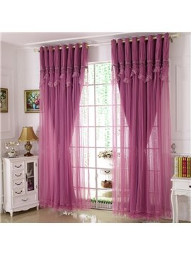 Princess Style Purple Sheer and Cloth Sewing Together Blackout Custom Curtain with Lace