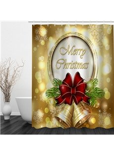 Golden Jingle Bell Printing Christmas Theme Bathroom 3D Shower Curtain